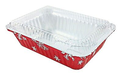 2 1/4 lb. Oblong Holiday Take-Out Foil Pan w/Clear Dome Lid 25/PK - Red Aluminum