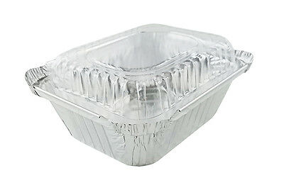 1 lb. Oblong Foil Pans and Clear Dome Lids 50/PK -Disposable Aluminum Containers