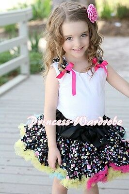 Rainbows Dots Pettiskirt Skirt in Pure White Pettitop Dots Ruffles Bows Set 1-8Y