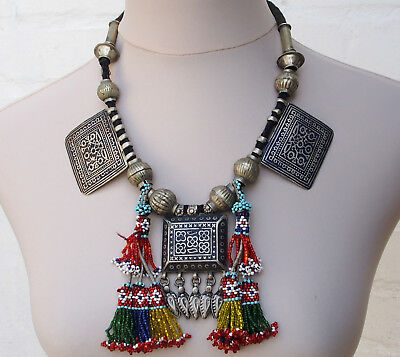 Antik orientalische Emaille Kette antique enamelled necklace Multan Pakistan A
