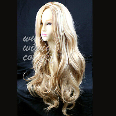 Wiwigs Fabulous Blonde Mix Long Wavy Layered Skin Top Ladies Wig