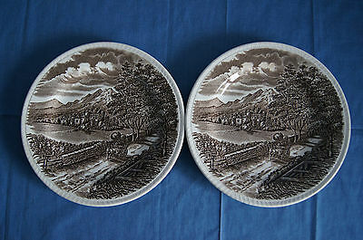 Lot of 2 Westmorland brown dinner plates Wood & Sons china porcelain EUC