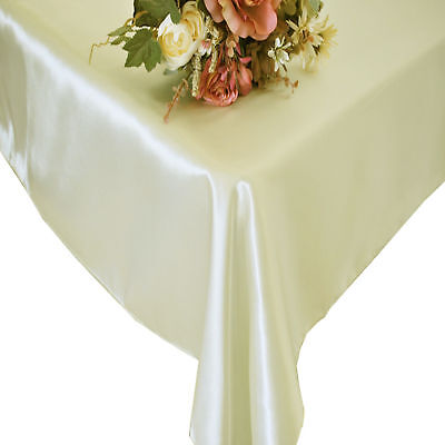 "5 Pack 90"" X 156"" Rectangle Banquet Satin Wedding Tablecloths 30 Colors"