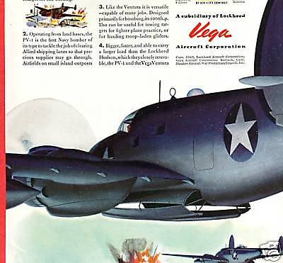 1943 WWII Color Art Ad ~ VEGA Ventura Airplane ~ Navy's First Land-Based Bomber