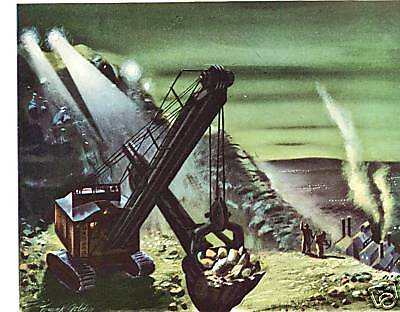 1944 WWII Art Ad ~ AIR REDUCTION From  Rock to Rubber Excavator
