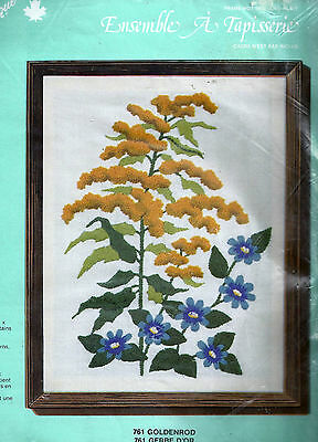 "GOLDENROD CREWEL EMBROIDERY KIT   11"" x 14""  CREATIQUE DESIGNS"
