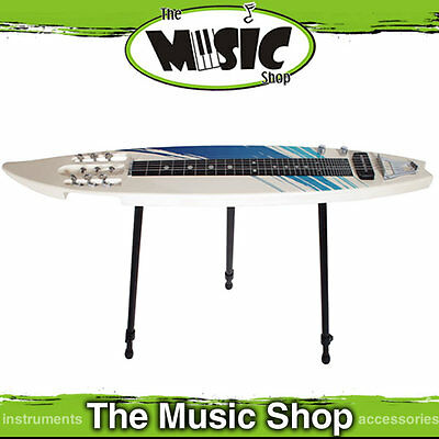 Mahalo 6 String Lap Steel Surfboard Shaped Guitar - Lapsteel with Stand & Bag