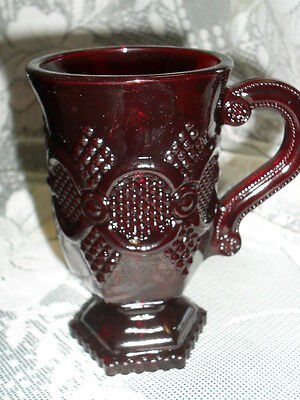 Lot of 8 AVON Cape Cod RUBY RED GLASS MUGS on Pedestals w/HANDLES