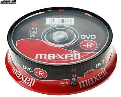 Maxell DVD-R 4.7GB 16x Speed 120min Recordable DVD Disc Spindle Pack 25 (275520)