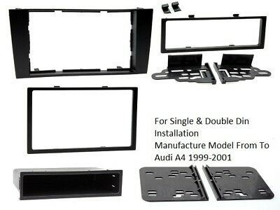 CT24AU17 AUDI A4 B5 MODEL 1999 to 2001 BLACK SINGLE OR DOUBLE DIN FASCIA ADAPTER