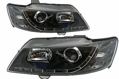 Holden Commodore All VY Models LED DRL Like Black Projector Headlights New Style