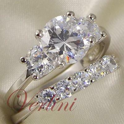 3.5 Ct Three-Stone Engagement Ring Sterling Silver Wedding Band Set Size 5-10