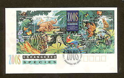 1994 FDC1484 ENGDANGERED SPECIES ZOOS MINIATURE SHEET FDC PARKVILLE VIC 3052Pmk