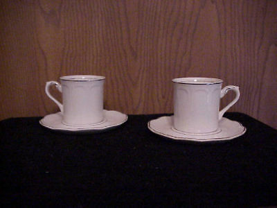 J&G Meakin China 2 Cup & Sauers Colonial Silver Baroqu