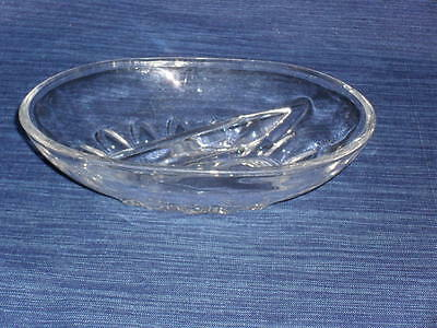 """5"""" x 7"""" Clear DIVIDED Glass CANDY or CONDIMENTS BOWL Dish"""