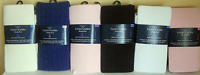 Girls Heavyweight Cotton Tights Stockings Blue Pink Black  White Tusk NEW