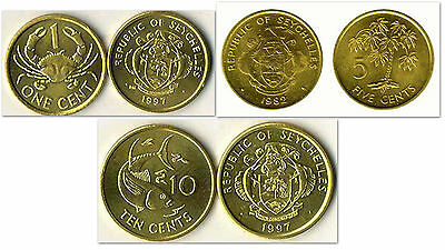 Seychelles 1 & 5 & 10 Cents 3 Uncirculated Coin Set