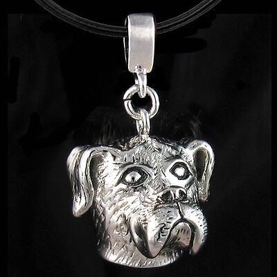 Bullmastiff Puppy Dog Rhodium Plated Silver Pendant Leather Necklace Cord