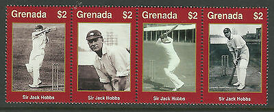 WISDEN CRICKET JACK HOBBS GRENADA 2000 CRICKETER OF CENTURY STRIP 4v MNH