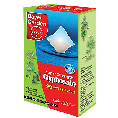 Bayer Super Strength Glyphosate - 12 Sachet Weed Killer - Very Strong Weedkiller