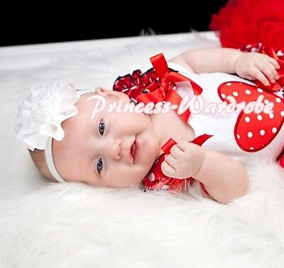White Pettitop Top Red White Dots Ruffles Heart with Bows For Pettiskirt NB-8Y