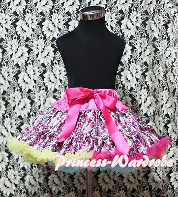 VALENTINE Romantic Pink Floral Rose full pettiskirt tutu dress girl cloth 1-8Y