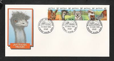 1986 FDC1027 WILDLIFE STRIP of 5 FDC SYDNEY NSW 2000 Postmark