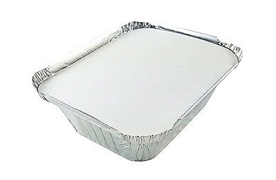 1 lb. Oblong Foil Pans with Board Lids 100 Sets - Aluminum Take-Out Containers