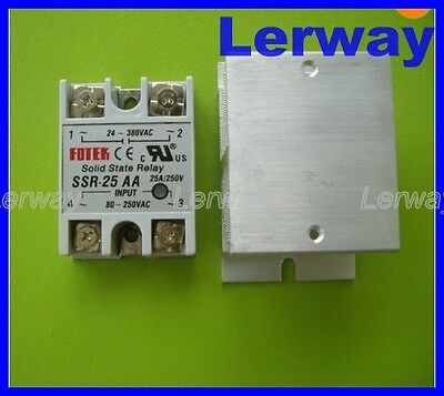 AC 80-250V 25AA SSR Solid State Relay with Heat Sink for Temperature Controller