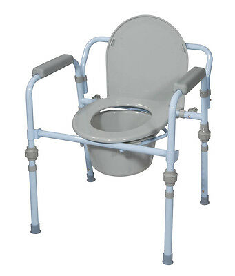 Drive Medical Steel Folding 3 in 1 Bedside Commode