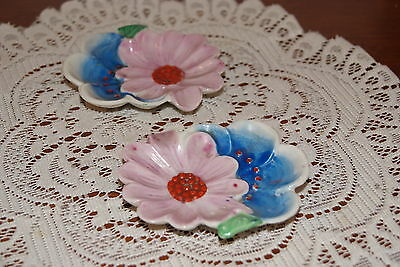 Vintage.....lot Of 2....ceramic....hand Painted....flowered....ashtray....japan