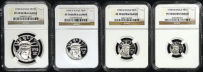 1998 W Platinum Proof Eagle 4 coin set graded NGC PF70 PERFECT $10 $25 $50 $100