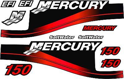 Mercury Outboard 150HP Decal Kit,Red Saltwater Motor Cover Decals (90,115 & 200)