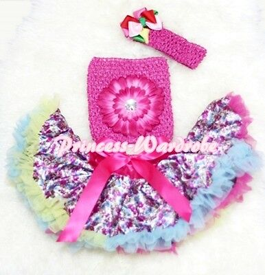 Newborn Baby Floral Print Pettiskirt and Hot Pink Crochet Tube Top 3PC Set 3-12M