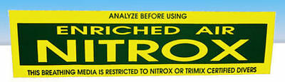 "Nitrox Scuba Dive Tank Bumper Sticker Decal  Heavy Vinyl 14.5"" x 3.5""  TriMix"