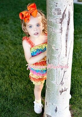 NewBorn Baby Colorful Rainbow Lace Chiffon ONEPIECE Petti Romper Jumpsuit NB-3Y