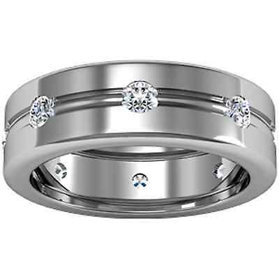 14KT White Gold Gypsy Set Diamond Ring Band Design NEW Wedding or Other