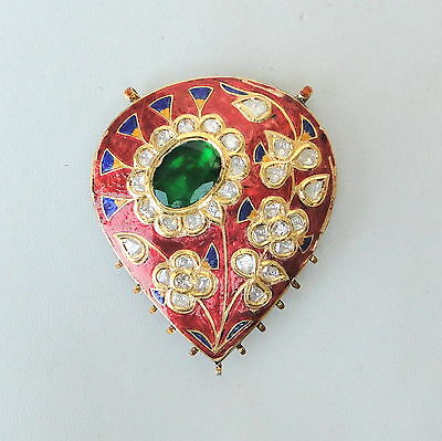 Vintage Antique 20K Gold Diamond Polki Kundan Enamel Work Pendant Necklace India