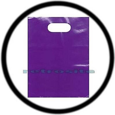 "25 Qty PURPLE 12"" x 15"" Low Density Glossy Merchandise Plastic Bags w/ Handles"