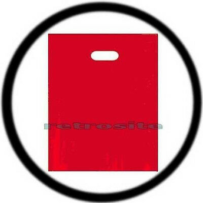 "50 Qty RED 12"" x 15"" Low Density Glossy Merchandise Plastic Bags w/ Handles"
