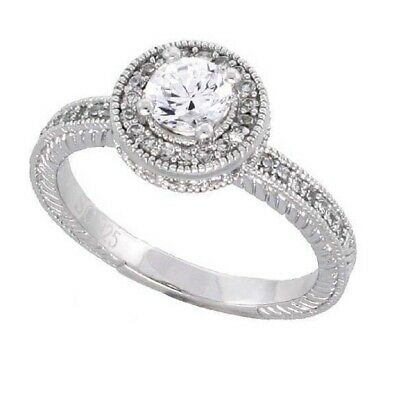 Sterling Silver Vintage Style Engagement CZ Ring, w/  5mm (0.50 ct) Center CZ