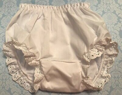 White Eyelet Trimmed Bloomers Diaper Cover Infant Baby Toddler Sizes