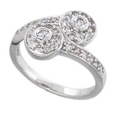Sterling Silver Vintage Style Double Halo Engagement Ring w/ Brilliant Cut CZ