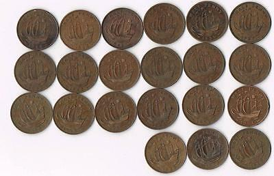Collection Of 21 Great Britain Half Penny Ship Coins - Blowout Price