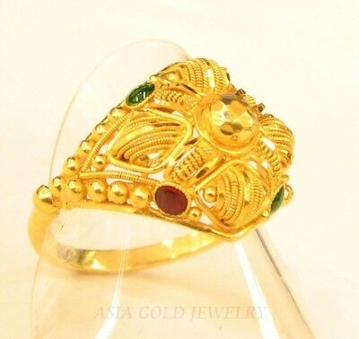 22k solid gold ring with enamel india #103