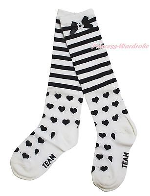 White Petti Sock Girl Stocking Black Stripes Hearts Print For Pettiskirt 3-10Y