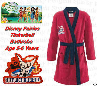 Authentic Disney Fairies Tinkerbell Dressing Gown Bath Robe Age 5-6 Years Girls