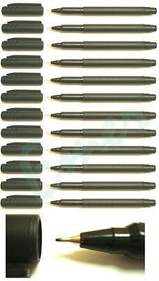 12 x Fineliner Pens Metal Tip Black, Blue or Red Colour Choice Fast Dispatch