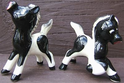 Vintage BLACK WHITE PONY COLT HORSE Ceramic SALT and PEPPER Shaker Set 1960s