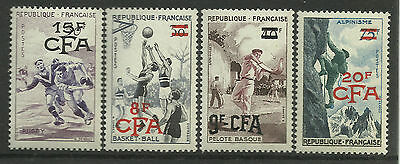 REUNION 1956 SPORTS 4v MNH RUGBY BASKETBALL PELOTE